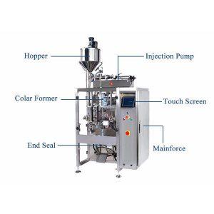 Vertikaalne vorm täitke hülgamismasin, millel on vedeliku pihustamisfilter